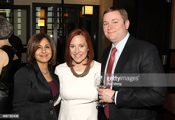 Neera Tanden , Jen Psaki and Greg Mecher attend the ELLE and HUGO BOSS Women in Washington Power List Dinner at The Residence of the German...