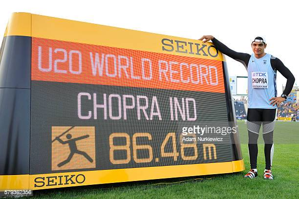 Neeraj Chopra from India competes in men's jewelin throw during the IAAF World U20 Championships at the Zawisza Stadium on July 23 2016 in Bydgoszcz...