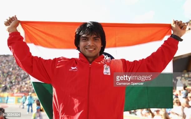 Neeraj Chopra of India celebrates winning gold in the Men's Javelin final during athletics on day 10 of the Gold Coast 2018 Commonwealth Games at...