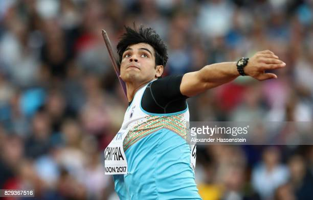 Neeraj Chopra of India competes during the mens javelin qualification during day seven of the 16th IAAF World Athletics Championships London 2017 at...