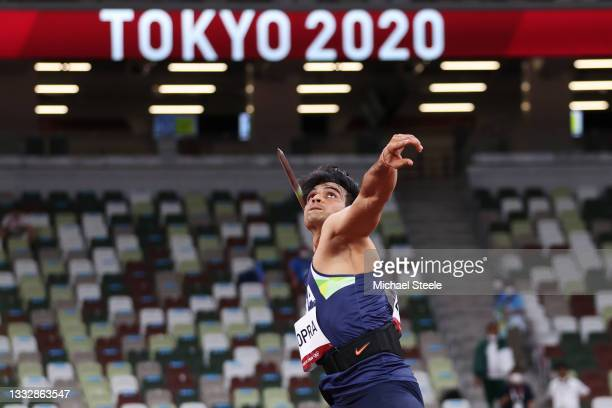Neeraj Chopra of Team India competes in the Men's Javelin Throw Final on day fifteen of the Tokyo 2020 Olympic Games at Olympic Stadium on August 07,...
