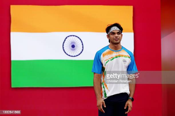Neeraj Chopra of Team India prepares to compete in the Men's Javelin Throw final on day fifteen of the Tokyo 2020 Olympic Games at Olympic Stadium on...