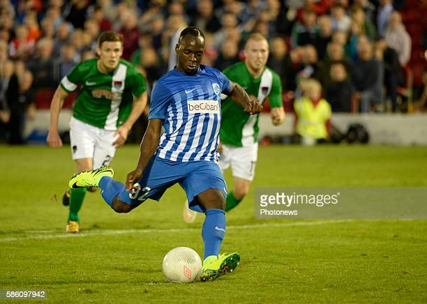 Neeskens Kebano forward of Krc Genk mist a penalty kick pictured during UEFA Europa League third qualifying round 2nd Leg match between Cork City FC...