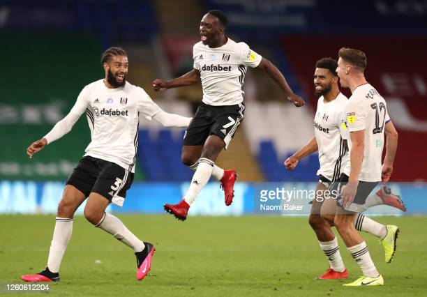 Neeskens Kebano of Fulham celebrates scoring his sides second goal during the Sky Bet Championship Play Off Semi-final 1st Leg match between Cardiff...