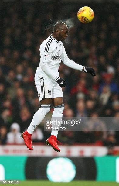 Neeskens Kebano of Fulham heads the ball during the Sky Bet Championship match between Brentford and Fulham at Griffin Park on December 2 2017 in...