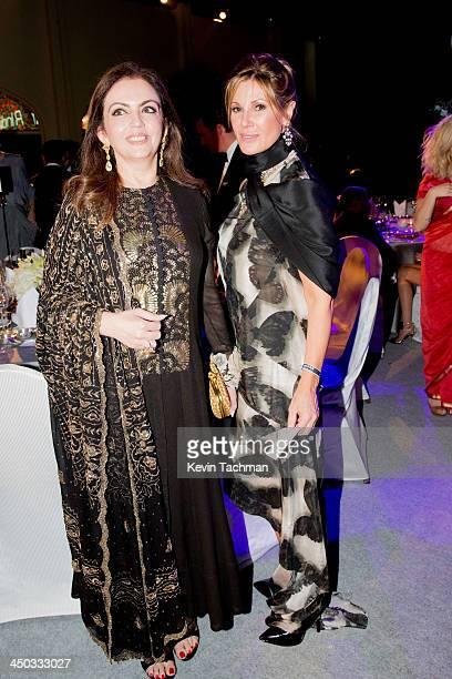 Neeta Ambani and Maria Cuomo Cole attends the inaugural amfAR India event at the Taj Mahal Palace Mumbai on November 17 2013 in Mumbai India