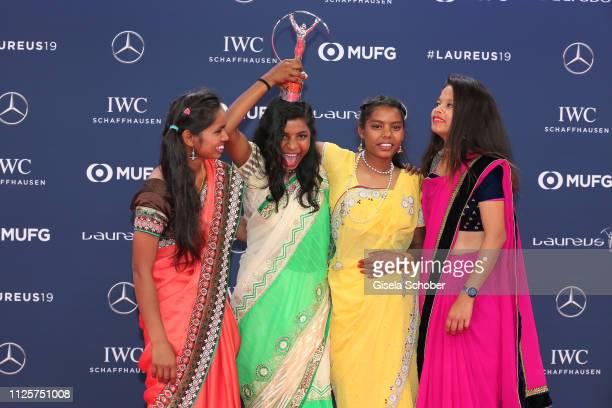 Neeta Kumari Hema Kumari Konika Kumari Radha Kumari of the Yuwa Football Girls team a footballbased charity from India winners of the Laureus Good...