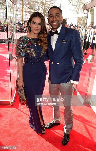 Neev Spencer and AJ King attend The Prince's Trust Samsung Celebrate Success Awards at Odeon Leicester Square on March 12 2015 in London England