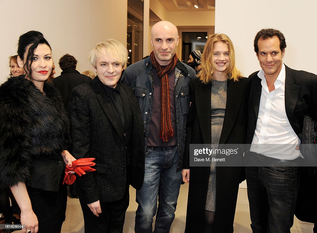 Nefer, Nick Rhodes, Jason Brooks, Natalia Vodianova and Brent Hoberman attend a private view of 'Mat Collishaw: This Is Not An Exit' at Blaine/Southern Gallery on February 13, 2013 in London, England.