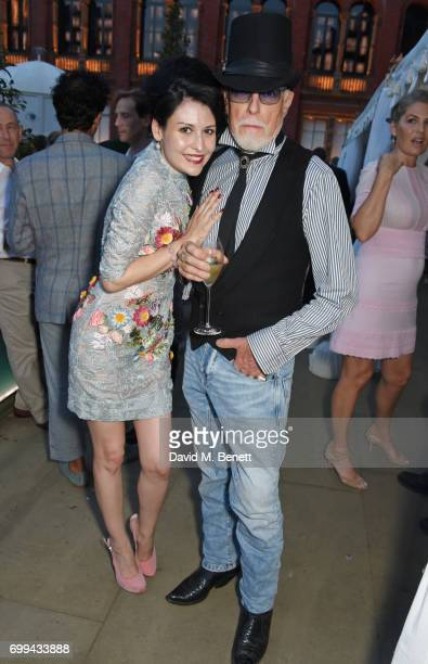 Nefer Suvio and Antony Price attend the 2017 annual VA Summer Party in partnership with Harrods at the Victoria and Albert Museum on June 21 2017 in...