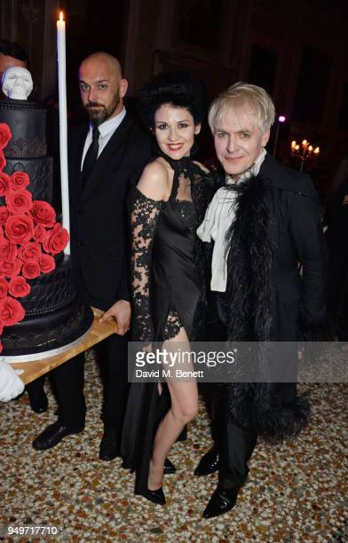 Nefer Suvio and Nick Rhodes attend a party to celebrate Nefer Suvio's birthday hosted by The Count and Countess Francesco Chiara Dona Dalle Rose at...