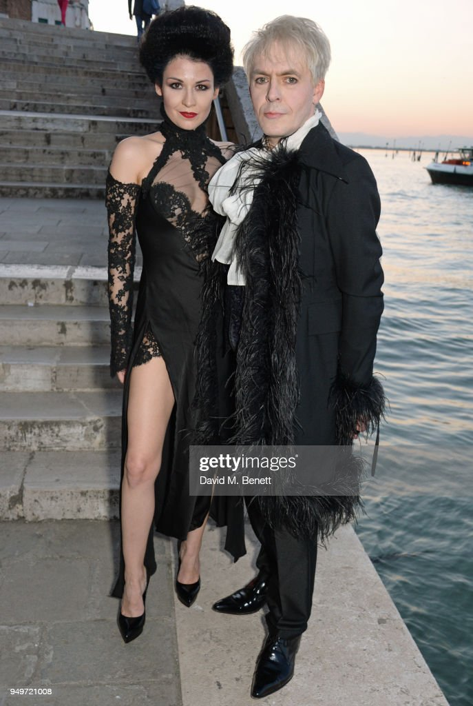 Nefer Suvio (L) and Nick Rhodes attend a party to celebrate Nefer Suvio's birthday hosted by The Count and Countess Francesco & Chiara Dona Dalle Rose at Palazzo Dona dalle Rose on April 20, 2018 in Venice, Italy.