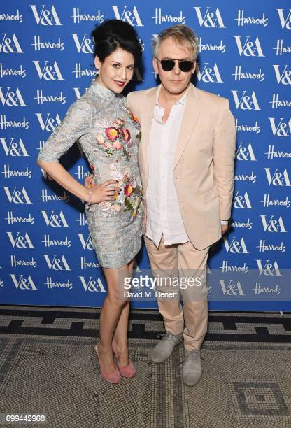 Nefer Suvio and Nick Rhodes attend the 2017 annual VA Summer Party in partnership with Harrods at the Victoria and Albert Museum on June 21 2017 in...