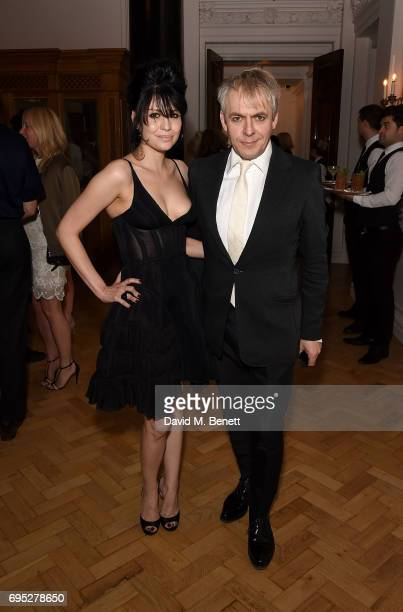 Nefer Suvio and Nick Rhodes attend the London Fashion Week Men's closing dinner hosted by GQ at The Ned on June 12 2017 in London England