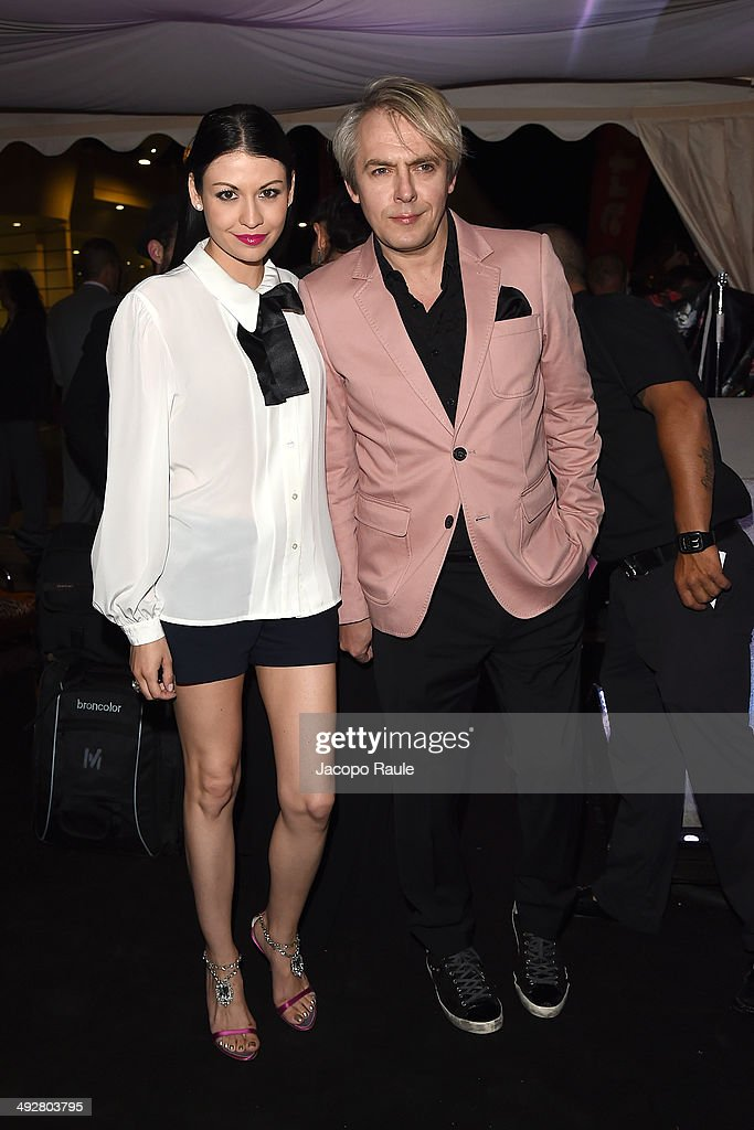 Nefer Suvio and Nick Rhodes attend the 'Roberto Cavalli Annual Party Aboard' : Outside Arrivals at the 67th Annual Cannes Film Festival on May 21, 2014 in Cannes, France.