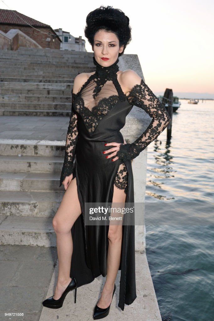 Nefer Suvio attends a party to celebrate her birthday hosted by The Count and Countess Francesco & Chiara Dona Dalle Rose at Palazzo Dona dalle Rose on April 20, 2018 in Venice, Italy.