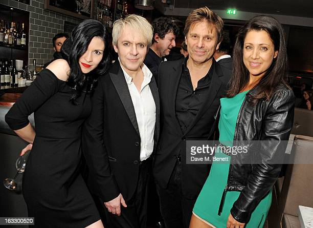 Nefer Suvio Nick Rhodes Roger Taylor and Gisella Taylor attend an after party celebrating Duran Duran keyboardist Nick Rhodes' exhibition 'BEI INCUBI...