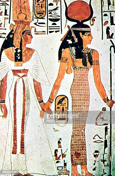 Nefertari and Isis Ancient Egyptian wall painting from a Theban tomb 13th century BC Nefertari was the favourite queen of Ramses II Her tomb was...