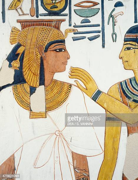 Nefertari meets the goddess Isis fresco the north facade of the fourth pillar burial chamber Tomb of Nefertari Valley of the Queens Thebes Detail...