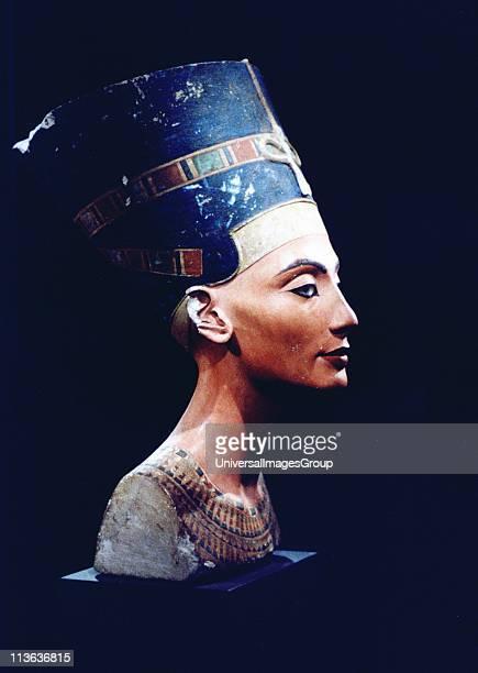 Nefertiti Egyptian queen consort of heretic king Akhenaton Sculptured head found at Amarna 1912 Berlin Museum