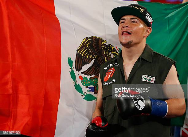 Neftali Campos of Mexico enters the ring to fight Christopher Diaz in a Featherweight bout on June 11 2016 at the Theater at Madison Square Garden in...