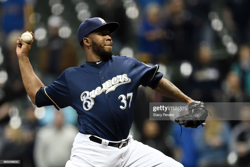 Neftali Feliz #37 of the Milwaukee Brewers throws a pitch during the ninth inning of a game against the Colorado Rockies at Miller Park on April 5, 2017 in Milwaukee, Wisconsin.