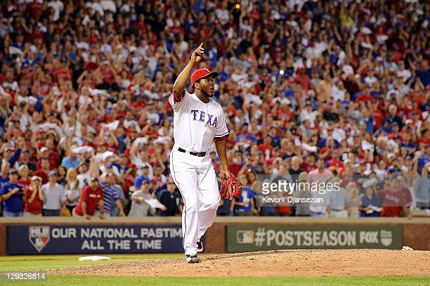 Neftali Feliz of the Texas Rangers reacts to a pop fly for the final out of Game Six of the American League Championship Series against the Detroit...