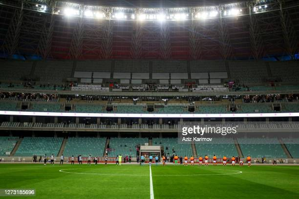 Neftchi FK and Galatasaray line up during the UEFA Europa League second qualifying round match between Neftchi FK and Galatasaray at Baku Olympic...