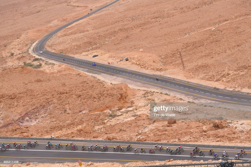 Negev Desert / Landscape / Peloton / during the 101th Tour of Italy 2018, Stage 3 a 229km stage from Be'er Sheva to Eilat / Giro d'Italia / on May 6, 2018 in Eilat, Israel.
