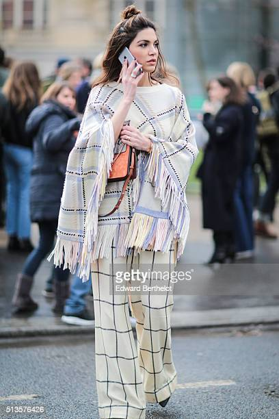 Negin Mirsalehi is wearing a Chloe full outfit and a Chloe bag after the Chloe show during Paris Fashion Week Womenswear Fall Winter 2016/2017 on...