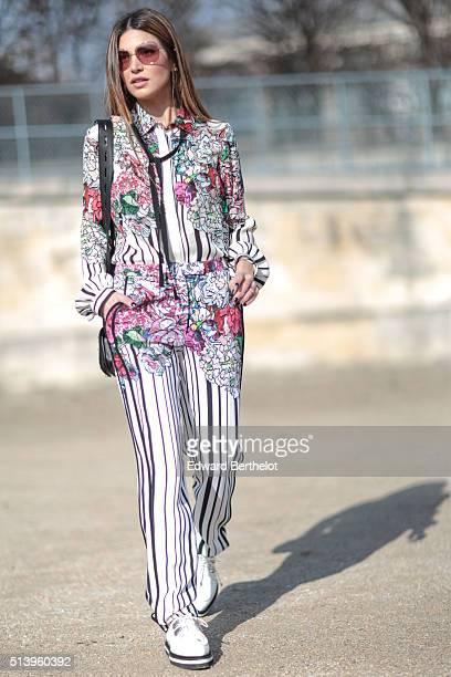 Negin Mirsalehi is wearing Elie Saab before the Elie Saab show during Paris Fashion Week Womenswear Fall Winter 2016/2017 on March 5 2016 in Paris...