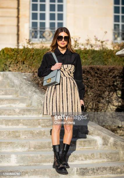 Negin Mirsalehi seen wearing dress bag outside Dior during Paris Fashion Week Haute Couture Spring/Summer 2020 on January 20 2020 in Paris France