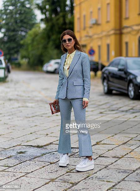 Negin Mirsalehi wearing a Gucci suit is seen outside Gucci during Milan Fashion Week Spring/Summer 2017 on September 21 2016 in Milan Italy