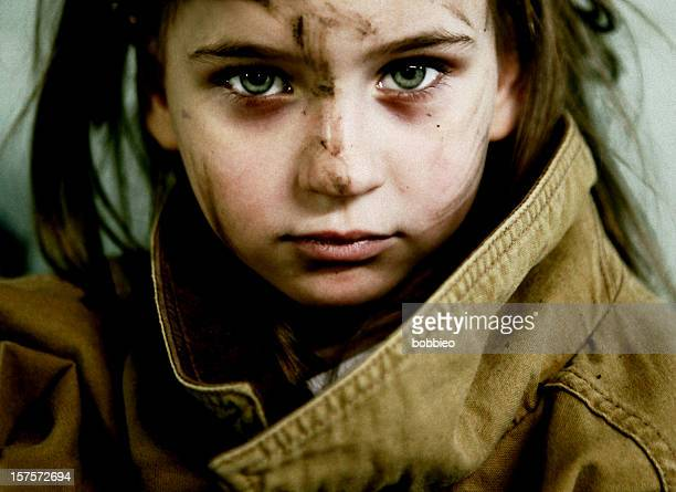 neglected little girl with dirty face - dirty little girls photos stock pictures, royalty-free photos & images