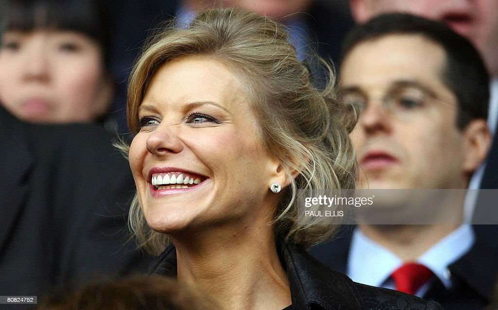 DIC negotiator Amanda Staveley takes her seat before Liverpool took on Chelsea in their UEFA Champions League semi-final football match against Liverpool at Anfield in Liverpool, north west England, April 22, 2008. The game finished 1-1.