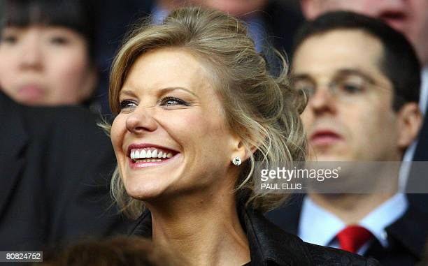 DIC negotiator Amanda Staveley takes her seat before Liverpool took on Chelsea in their UEFA Champions League semifinal football match against...
