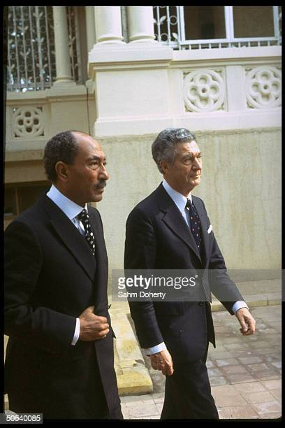 US negotiator Sol Linowitz walking w Egyptian Pres Anwar Sadat at Barrages