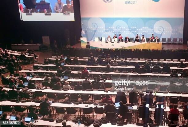 Negotiators attend a plenary session of the socalled COP23 UN climate change talks in Bonn Germany on Nov 18 2017 ==Kyodo