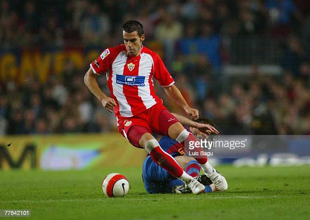 Negredo of Almeria in action during the La Liga match between FC Barcelona and UD Almeria, played at the Camp Nou stadium on October 28, 2007 in...