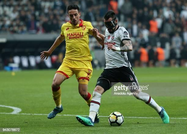 Negredo of Besiktas in action against Léo Schwechlen of Goztepe during the Turkish Super Lig soccer match between Besiktas and Goztepe at Vodafone...