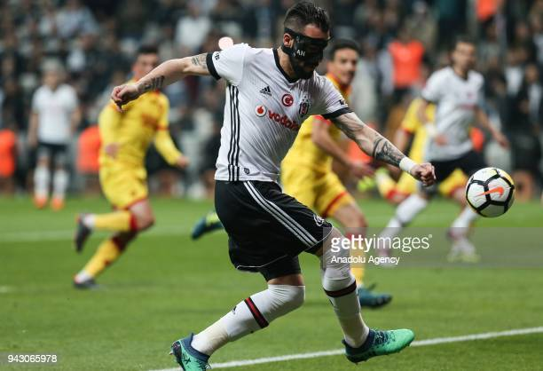 Negredo of Besiktas in action during the Turkish Super Lig soccer match between Besiktas and Goztepe at Vodafone Park in Istanbul Turkey on April 07...