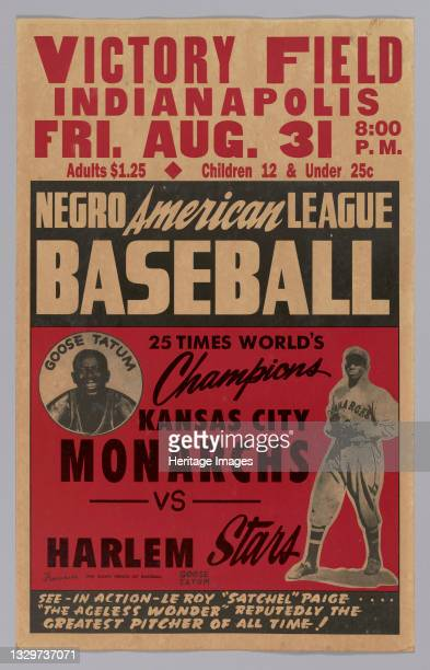 Negro American League baseball poster featuring Satchel Paige and Goose Tatum. The poster is white at top and has a white border. The text at the top...