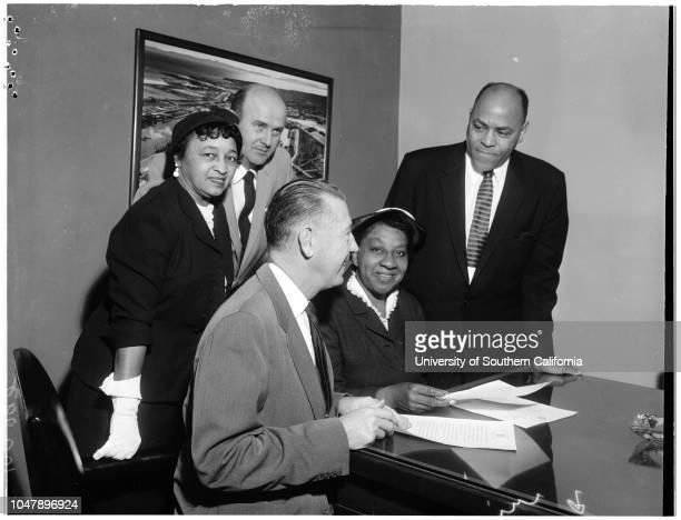 Negro history week, 3 February 1958. Mrs Noreen Forney;Gordon Hahn;John S Gibson Junior;Mrs Vassie Wright;the Reverend George Robert Garner the...