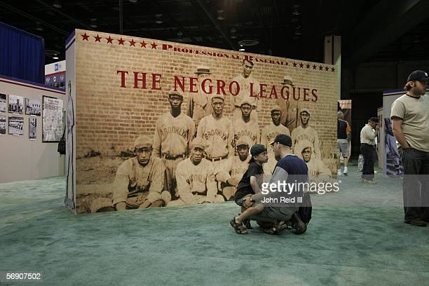 Negro Leagues display is on view at the John Hancock Major League Baseball All-Star Fan Fest at the COBO Center on July 9, 2005 in Detroit, Michigan.