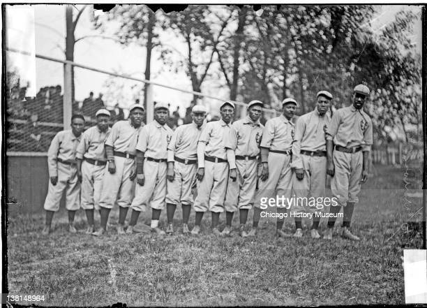 Negro National League's Chicago American Giants baseball team players standing on the field, Chicago, Illinois, 1911.