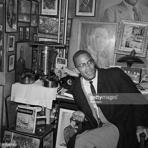Negro nationalist Malcolm X during press conference in offices of the National Memorial African Book Store here on March 12th urged America's 22...