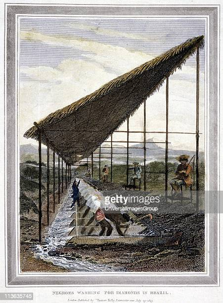 Negro slaves washing for diamonds watched over by supervisors with whips Brazil Handcoloured engraving 1815