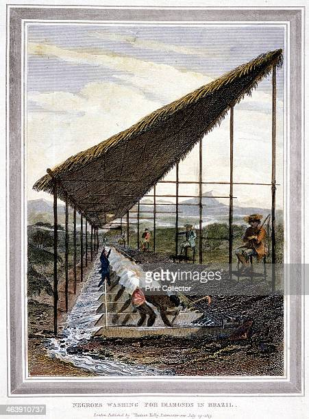 Negro slaves washing for diamonds watched over by supervisors with whips Brazil 1815 Brazil was the largest market in the Americas for African slaves...
