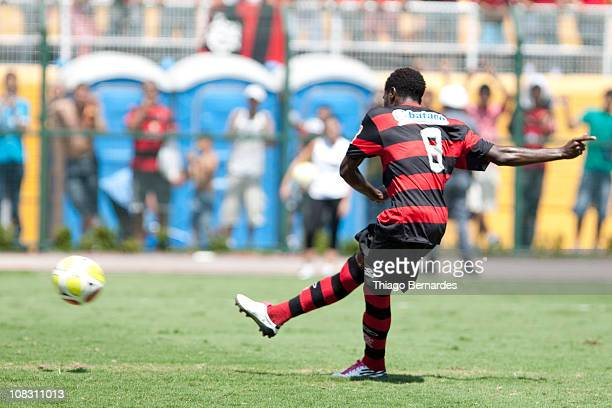 Negueba of Flamengo in action during a match against Bahia as part of the Sao Paulo Juniors Cup 2011 at Pacaembu stadium on January 25 2011 in Sao...