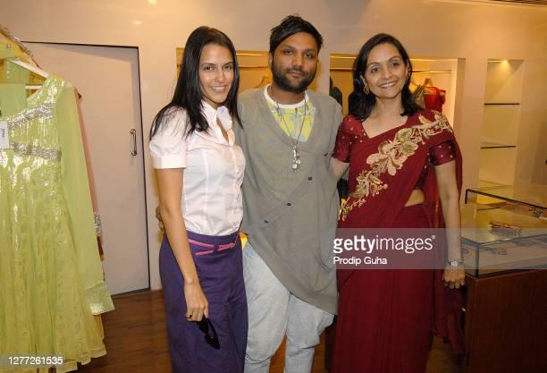 Neha Dhupia and Alka Nishar attends the Gaurav Gupta's fashion collection at AZA on July 29, 2010 in Mumbai, India
